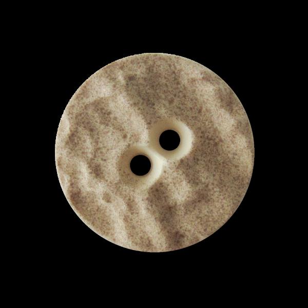 Hübscher beiger Zweiloch Trachten Knopf aus Kunststoff in Hirschhorn Optik