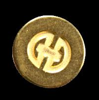 Interessante, goldfarbene Designerknöpfe aus Metall