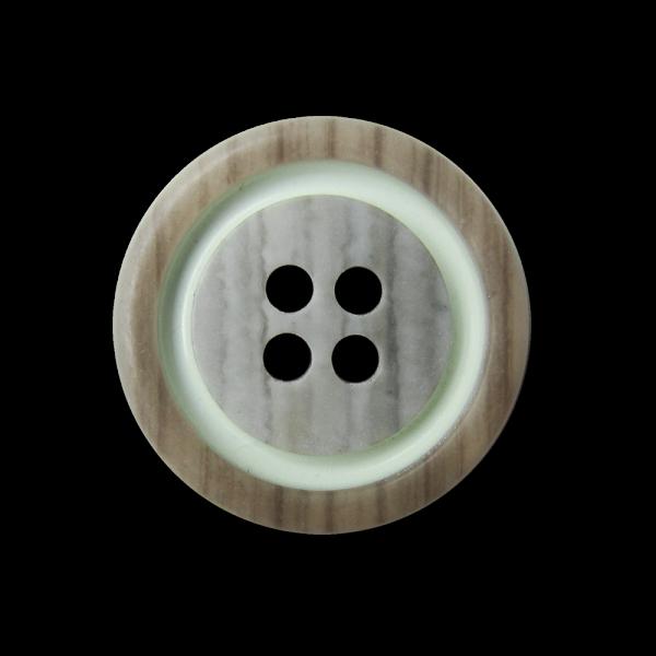 Schraffierter braun grüner Vierloch Kunststoff Knopf