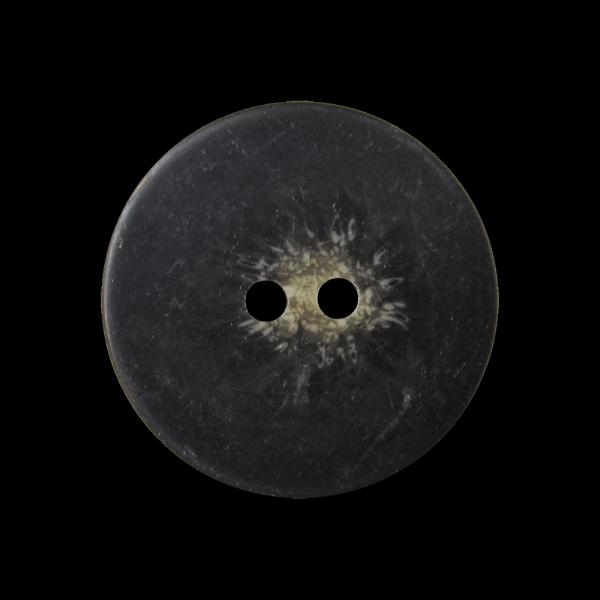 Günstiger schwarz brauner Knopf in Horn Optik / B-WARE