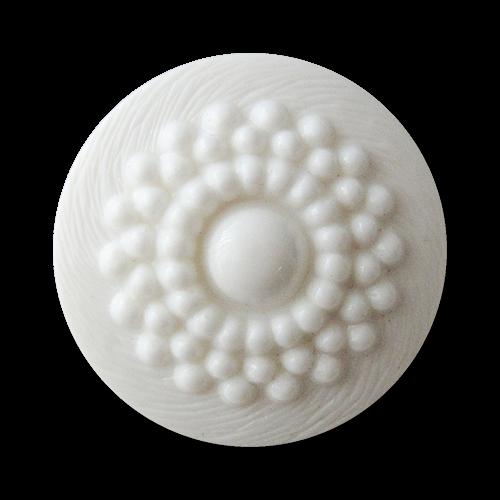 www.Knopfparadies.de - 5308we - Nostalgische Ösenknöpfe aus Kunststoff in Weiß