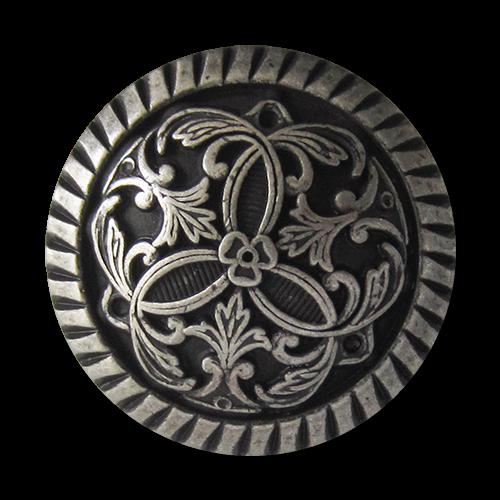 Besonders edle altsilberfarbene Metallknöpfe mit filigranem Muster