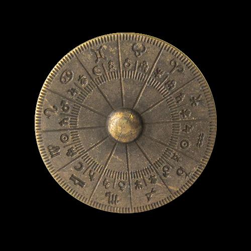 www.Knopfparadies.de - 3119am - Mystische Motivknöpfe mit astrologischem Horoskop in Messing