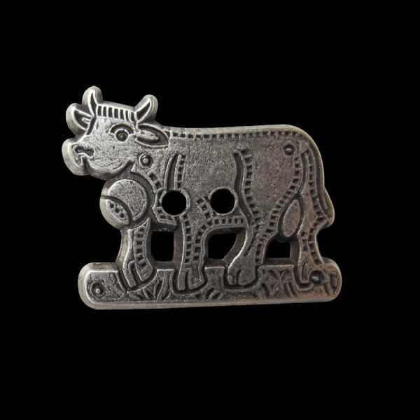 www.knopfparadies.de - 5491as - Trachtenknöpfe aus Metall in altsilber mit Motiv: Kuh
