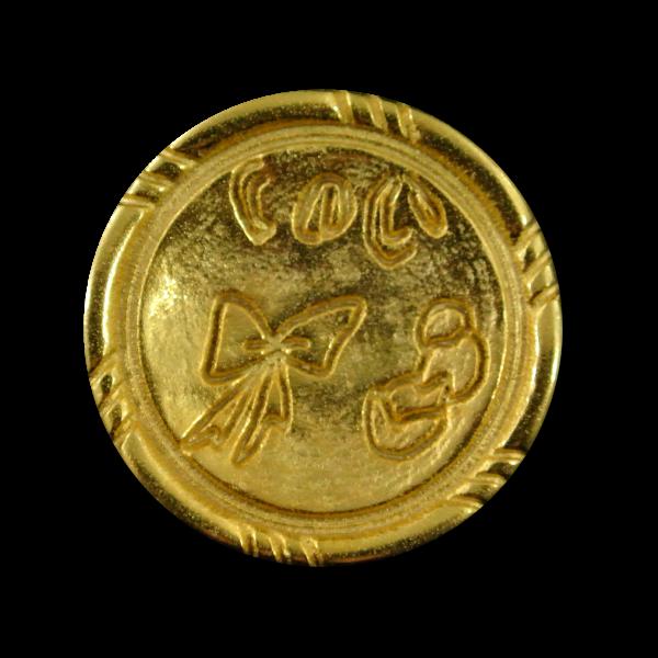 Romantischer goldfarbener Metall Knopf mit Schleife