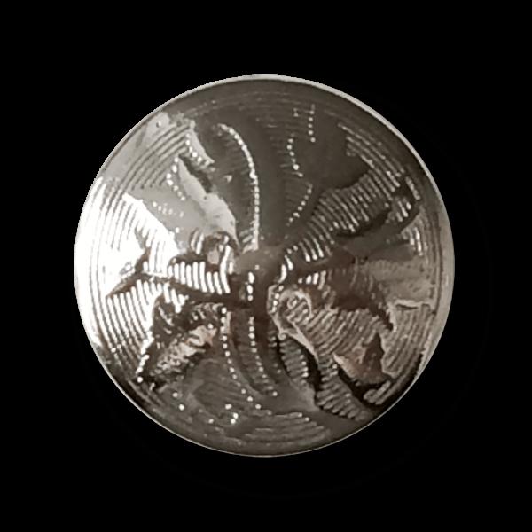 Silberfarbener Metall Knopf mit üppigem Ranken Muster