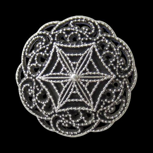 www.Knopfparadies.de - 1645as - Filigran gemusterte Metallknöpfe in Altsilber wie aus dem Jugendstil