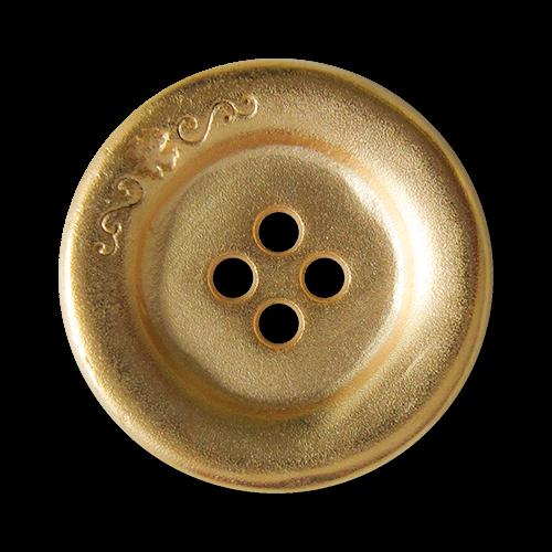 www.knopfparadies.de - 3274go - Metallknöpfe in matt goldfarben, mit vier Löchern und hübschem Detail am Rand