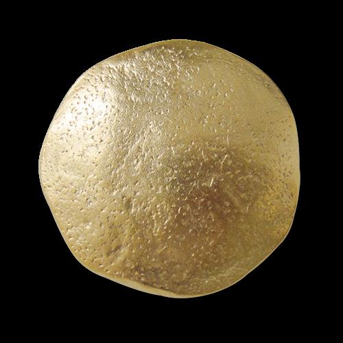 www.Knopfparadies.de - 0485go - Extravante, unrunde, goldfarbene Metallknöpfe eigenwilliger Oberfläche