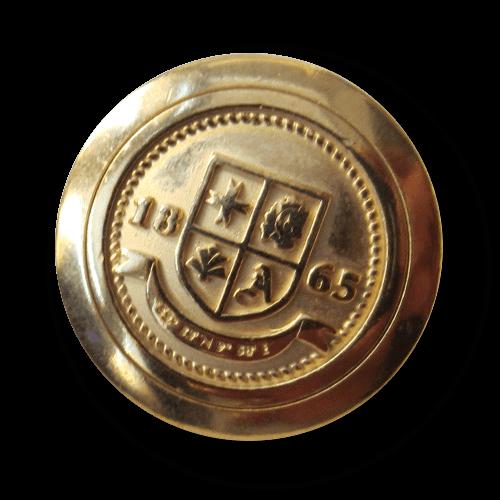 """Goldfarbener Blazer Knopf mit Wappen """"1865"""""""