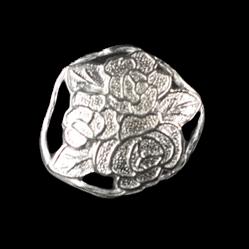www.knopfparadies.de - d143si - Silberfarbene Metallknöpfe mit Blumenstrauß-Motiv