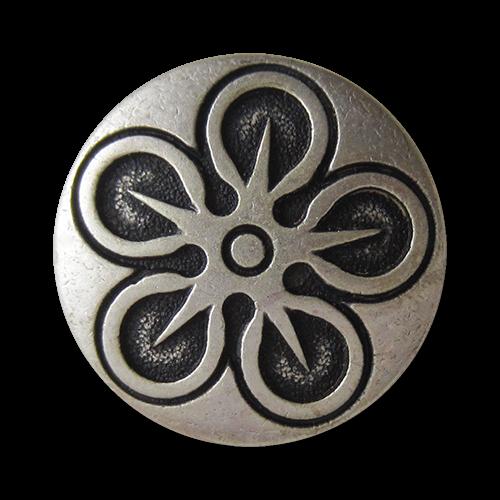 www.Knopfparadies.de - 0764as - Silberne Metallknöpfe mit außergewöhnlichem Motiv