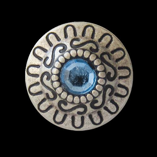 www.knopfparadies.de - 3440bl - Altsilberfarbene Metallknöpfe mit blauem Glitzerstein