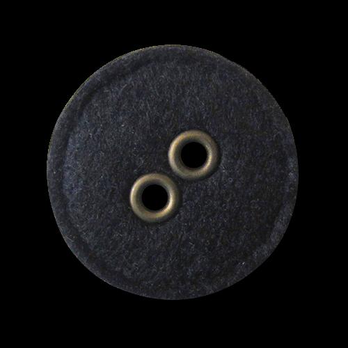 Origineller großer schwarzer Filz Knopf mit metallisch eingefassten Knopflöchern