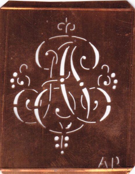 Aussteuerschablone, Wäsche-Schablone Schnörkel Kupfer Monogramm AP