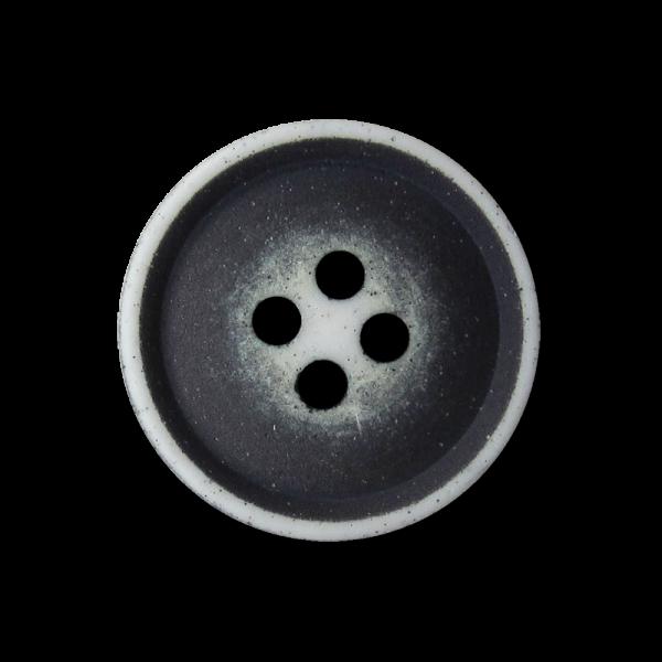 Dunkelblau weißer Vierloch Kunststoff Knopf