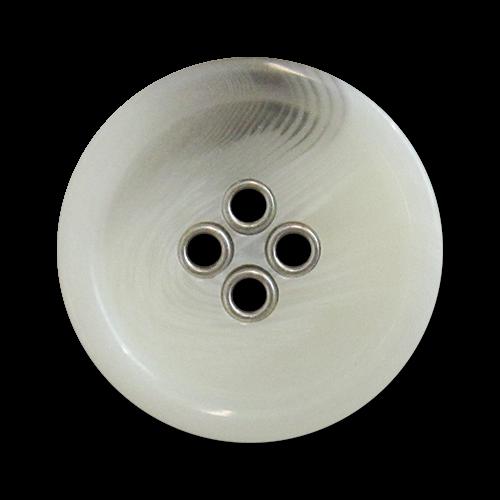 www.knopfparadies.de - 5981gw - Grau-weiß melierte Kunststoffknöpfe mit Metalllöchern