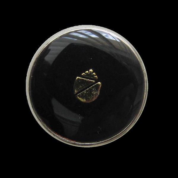Wappen Metall Knopf mit Öse in glänzend Schwarz Silber