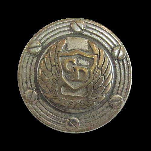 www.Knopfparadies.de - 4178bi - Günstigere Designerknöpfe aus Metall mit Schwingen in Silbe & Messing / B-WARE