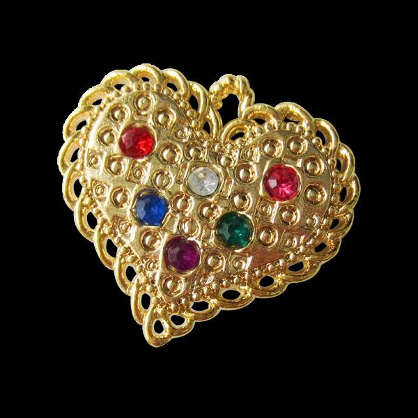 Sehr große goldfarbene Herz Knöpfe mit bunten Schmucksteinen