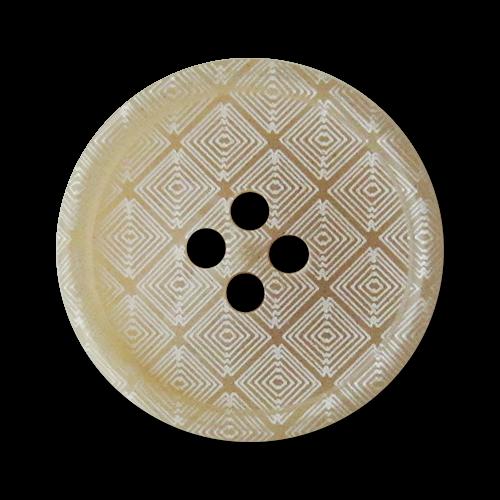 www.Knopfparadies.de - 4245be - Beige weiß gemusterte Vierlochknöpfe aus Kunststoff