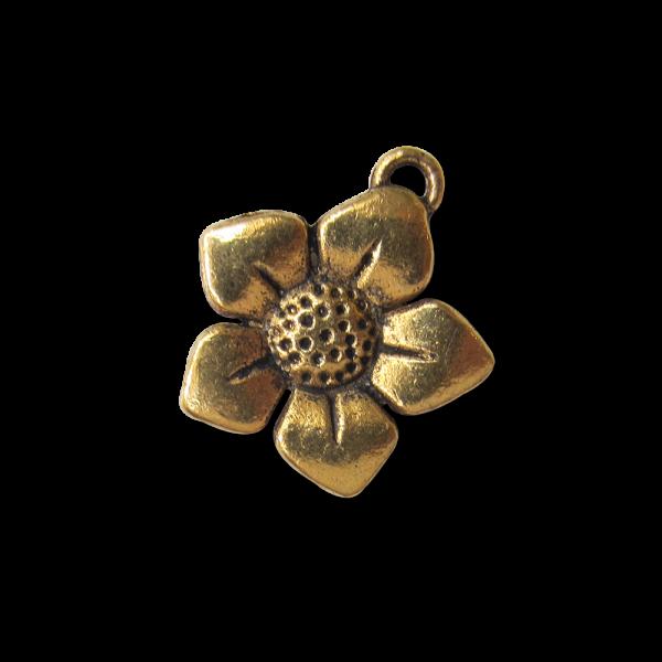 Süße altgoldfarbene Metall Anhänger Blüte / Blume