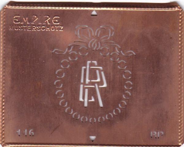 Stilvolle Jugendstil Kupfer Schablone mit Kranz und Schleife - Rarität - RP