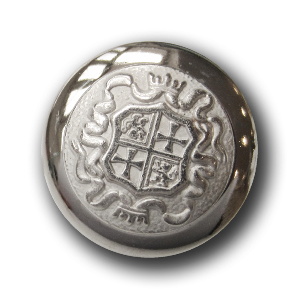 Edler Wappen Metall Knopf mit Krone, Kreuz & Löwe