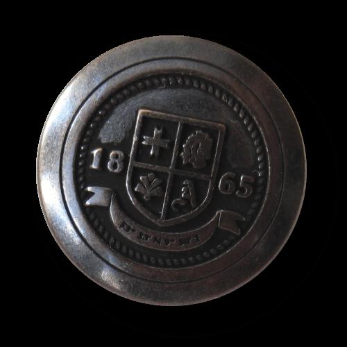 """Eisen-kupferfarbener Blazer Knopf mit Wappen """"1865"""""""