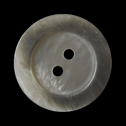 www.Knopfparadies.de - 1558pg - Grau schimmernde Zweiloch Kunststoffknöpfe in Perlmutt Optik