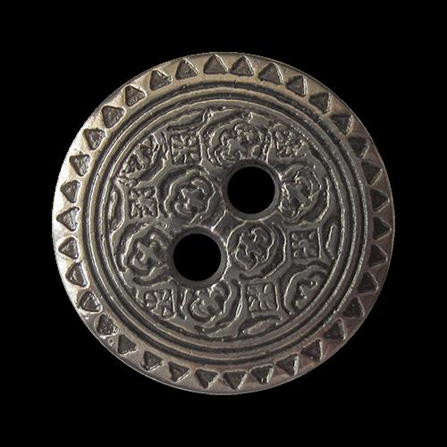 www.Knopfparadies.de - 1494si - Kleine silberne Metallknöpfe mit Ornament Muster