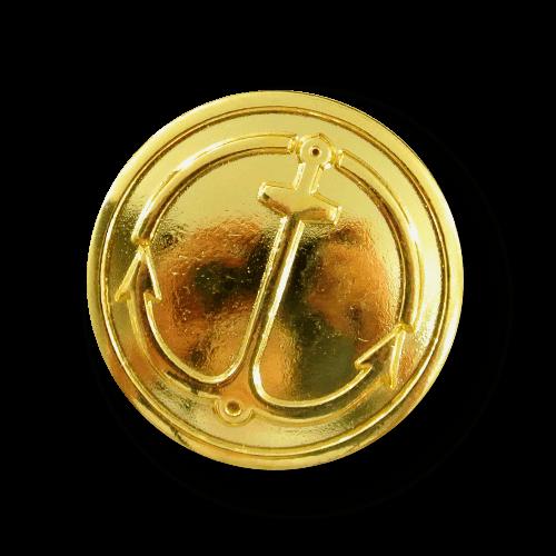 Glänzend goldfarb. maritimer Metall Knopf mit Anker