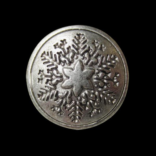 Weihnachtlicher Metall Knopf mit Stern & Tannenzweigen