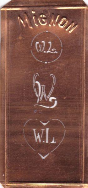 Stickschablone, Wäsche-Schablone Kupfer Mignon Monogramm WL