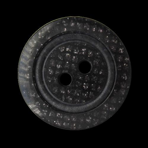 www.knopfparadies.de - 5910dg - Schwarze, glitzernde Kunststoffknöpfe mit zwei Löchern
