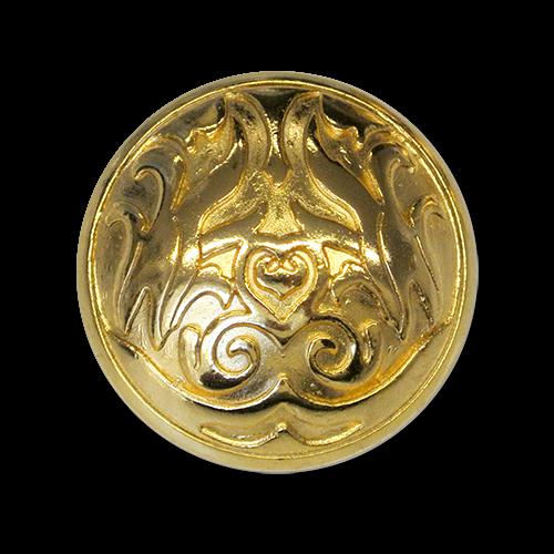 Mystischer goldfarbener Ornament Metall Knopf mit Öse