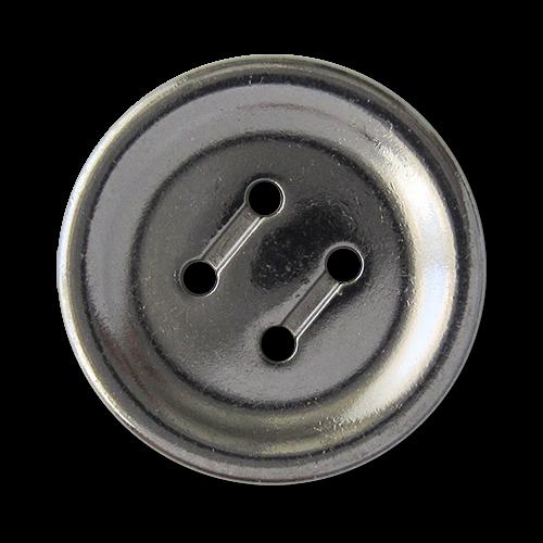 www.knopfparadies.de - 5757ch - Zeitlose Metallknöpfe, chromfarben mit vier Löchern