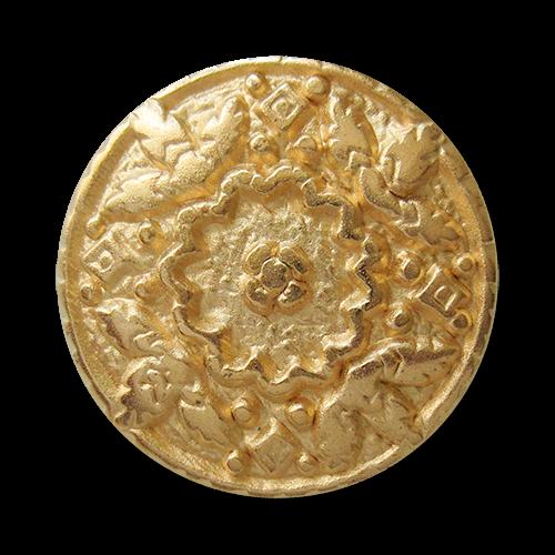 www.Knopfparadies.de - 0495mg - Goldene Metallknöpfe mit üppiger Verzierung
