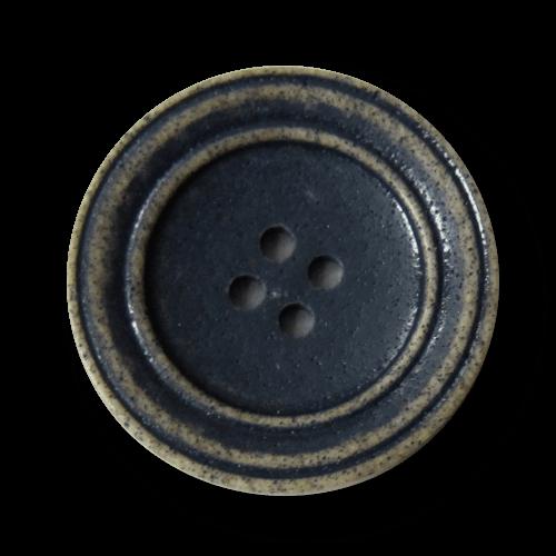 Tellerförmiger schwarz hellbrauner Kunststoff Knopf