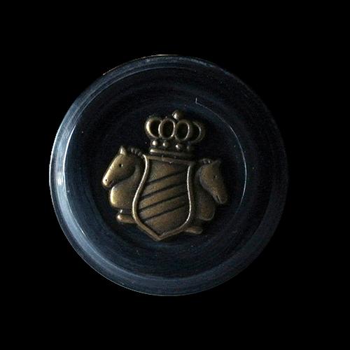 Nobler Ösen Knopf mit Wappen Metall Applikation