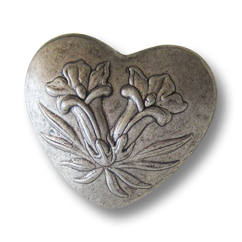 www.Knopfparadies.de - j093as - Reizende Metallknöpfe in Herz Form mit Enzian Motiv