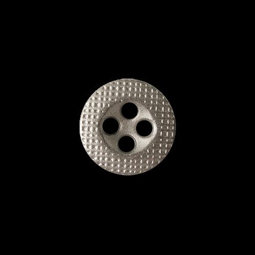 www.Knopfparadies.de - 5815sm - Sehr kleine silberne Metallknöpfe mit Gitter Muster
