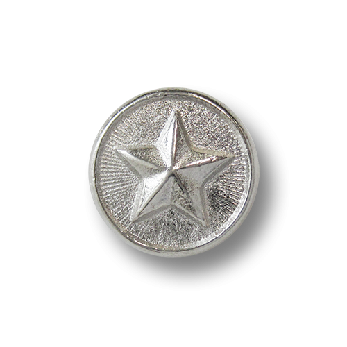 www.knopfparadies.de - 2533sg - Glänzend silberfarbene Metallknöpfe mit Stern