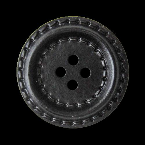 www.knopfparadies.de - 5941sc - Kunststoffknöpfe in schwarzer Lederoptik