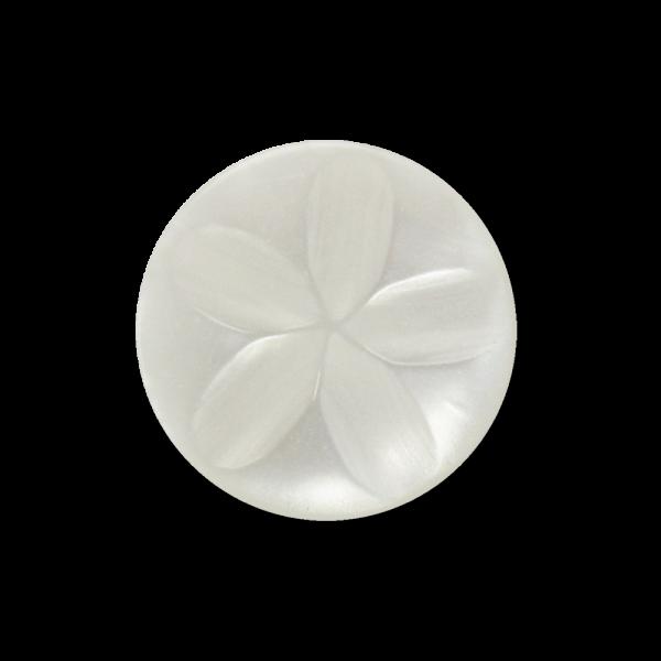 Kleiner perlmutt weißer Ösen Knopf mit Blumen Relief