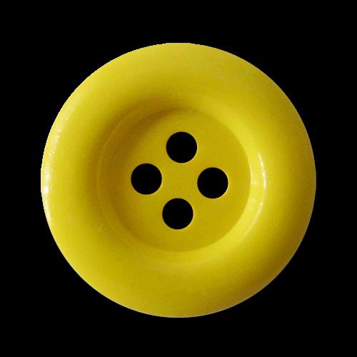 www.knopfparadies.de - 1685ge - Knallgelbe Kunststoffknöpfe mit vier Löchern