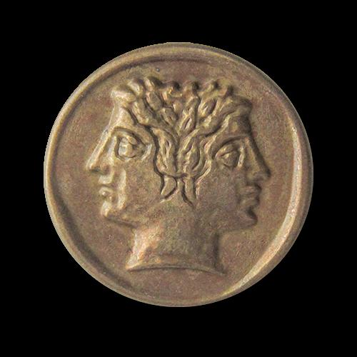www.Knopfparadies-de - 3118me - Außergewöhnliche Motivknöpfe aus Metall wie eine römische Münze