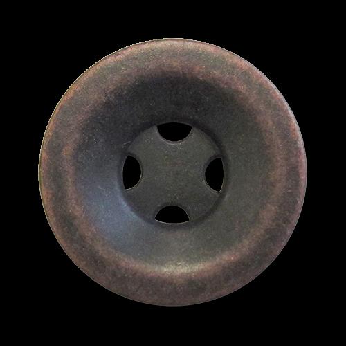 www.Knopfparadies.de - 3648ku - Altkupferfarbene Metallknöpfe mit vier Löchern