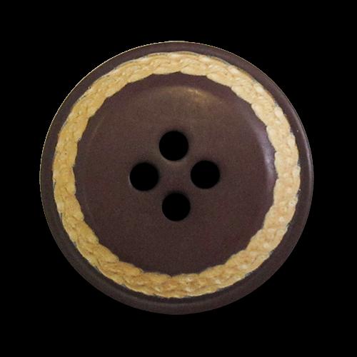 www.knopfparadies.de - 5094br - Kunststoffknöpfe mit vier Löchern und abgesetztem Rand