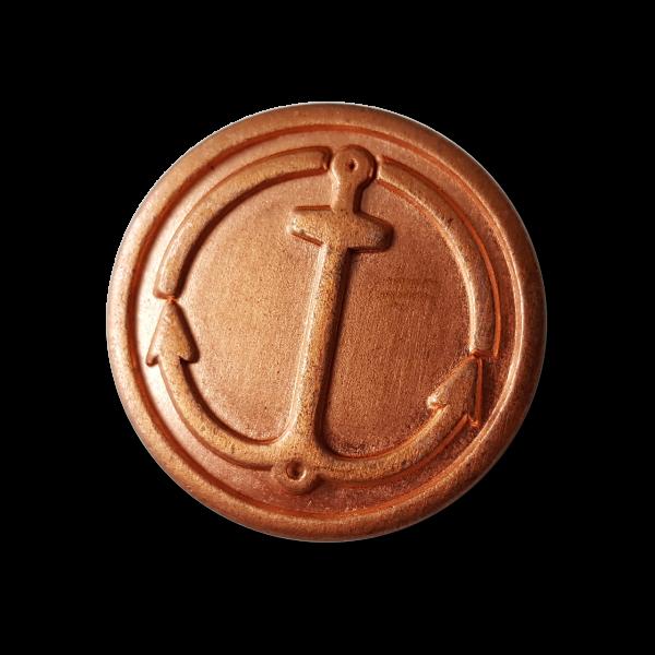 Kupferfarbener maritimer Metall Knopf mit Anker